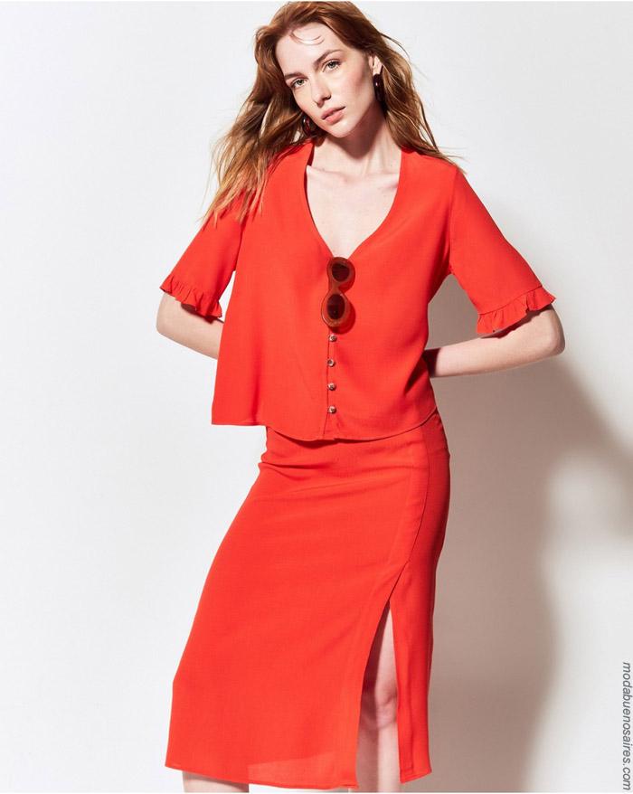 Blusas y faldas midis primavera verano 2020 moda mujer.
