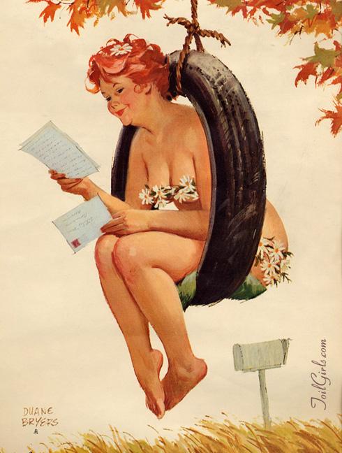 Hilda gordita pin up en un columpio de rueda