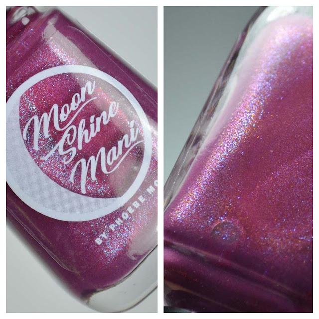 mauve shimmer nail polish in a bottle