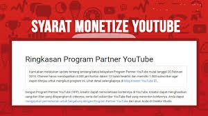 Syarat Monetize Akun YouTube