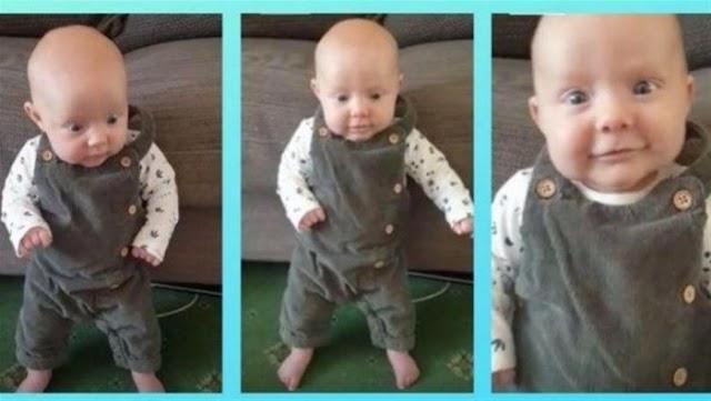طفلة معجزة بعمر شهر واحد تقف على قدميها