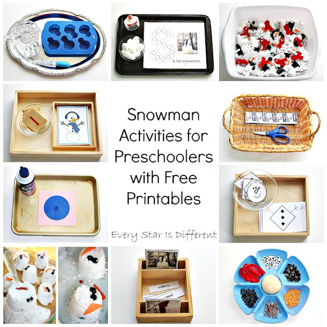 Snowman learning activities for preschoolers with free printables.