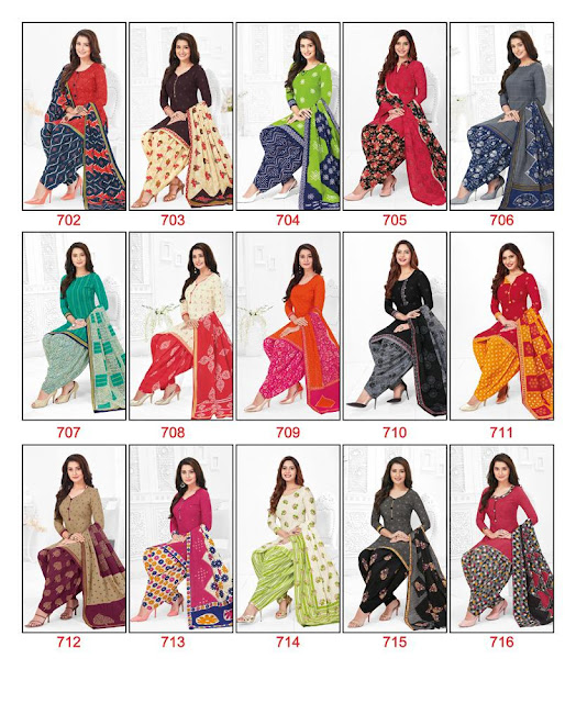 BAALAR COLOURFUL VOL 7 PURE COTTON READYMADE PATIYALA SET RS-450 , WITH INNER-RS 500