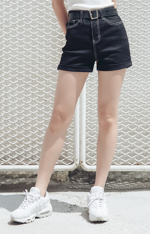 High Waist Contrast Stitch Shorts