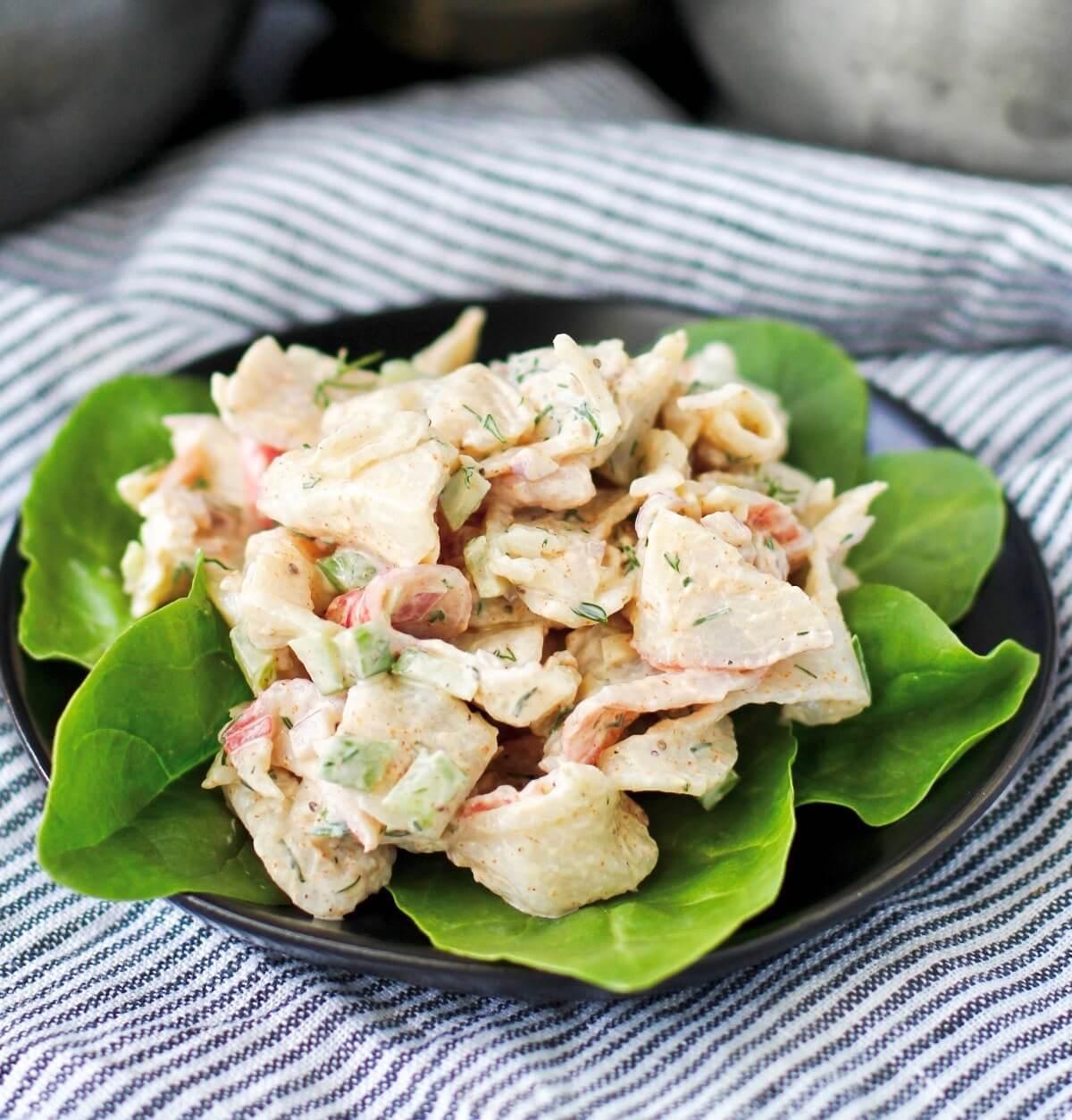 Imitation crab salad on a plate.