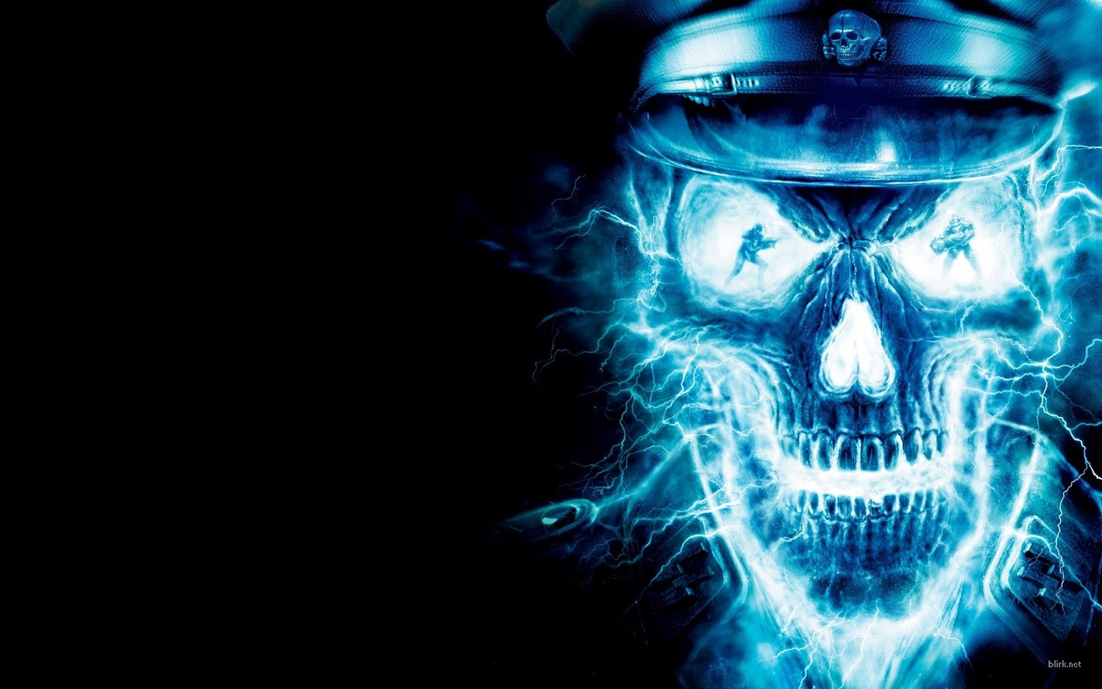 Neon Blue Skull - HD Wallpaper