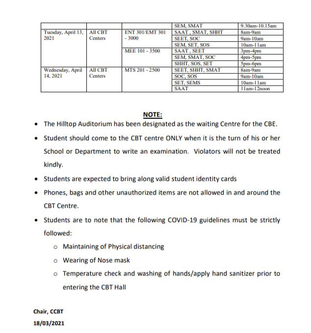 FUTA CBE Final Exam Timetable for 1st Semester 2019/2020