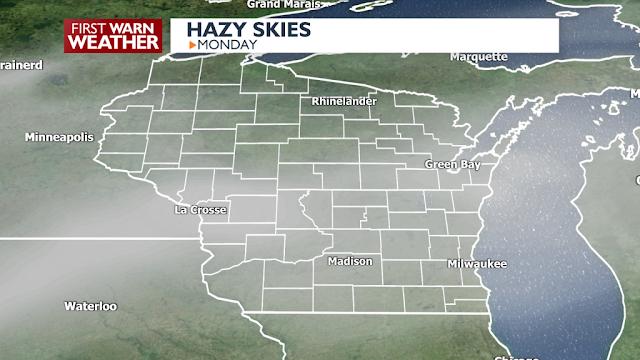 haze from smoke Wisconsin map
