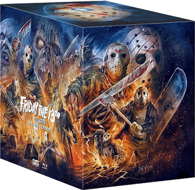 Side view of Scream Factory's impressive FRIDAY THE 13TH COLLECTION: DELUXE EDITION!