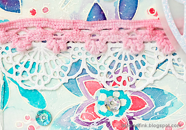 Layers of ink - Winter Floral Watercolor Tutorial by Anna-Karin Evaldsson. Crochet border.