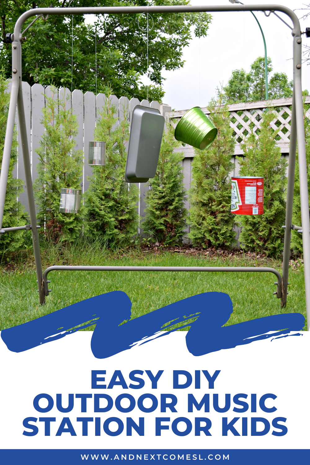 Easy DIY outdoor music station for kids