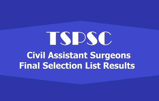 TSPSC Civil Assistant Surgeons Final Selection list Results 2019 Released
