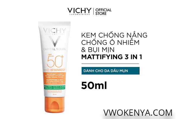 Kem chống nắng Vichy Capital Soleil Mattifying 3-In-1 dành cho da dầu mụn (SPF 50+)