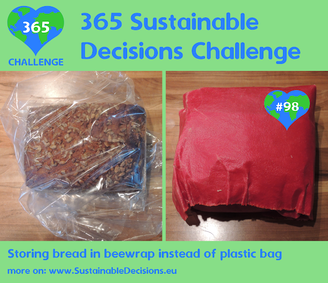 Storing bread in beewrap instead of plastic bag reducing plastic waste reducing waste