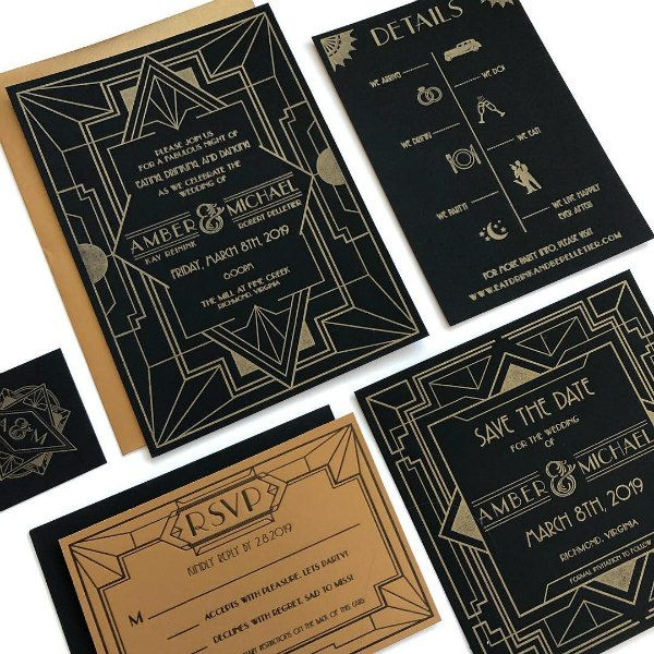 black and gold art deco style letterpress wedding invitation suite