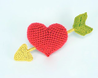 Amigurumi Crochet Heart with arrow