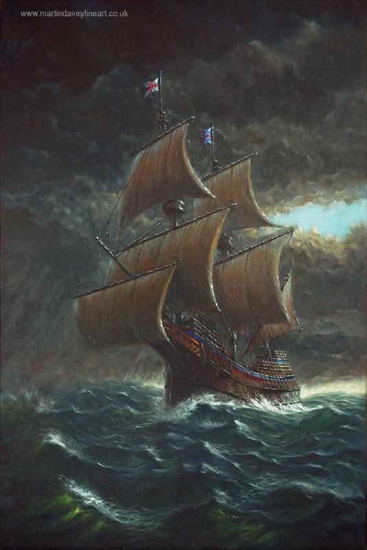 mayflower ship in rough seas oil painting M P Davey