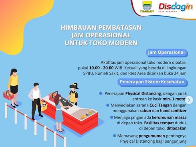 Surat Edaran Terbaru Disdagin Kota Bandung, Toko Modern Tutup Pukul 8 Malam