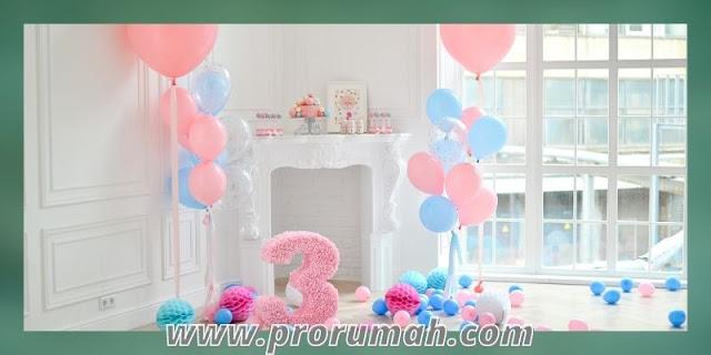 dekorasi ulang tahun di rumah - desain balon