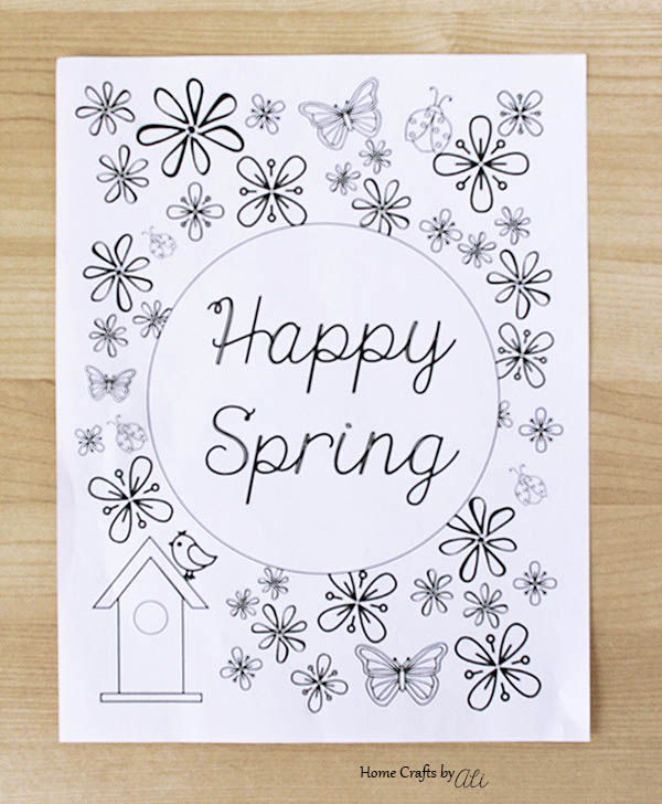 black and white happy spring printable with flowers butterflies ladybugs birdhouse and bird