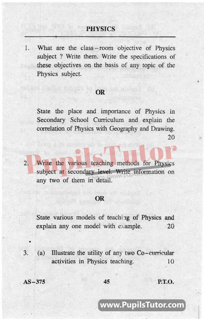 Pedagogy Of Physical Science Question Paper In English