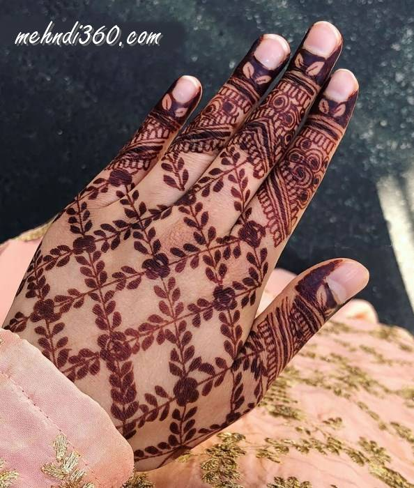 Cross line Mehndi Design Back hand