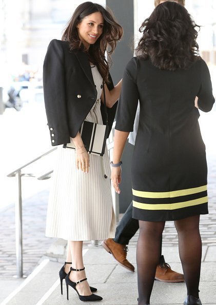 Meghan Markle wore Altuzarra Audrey button detailed ottoman midi dress, Camilla And Marc Marguerite blazer, carried Oroton Avalon Zip Top Crossbody