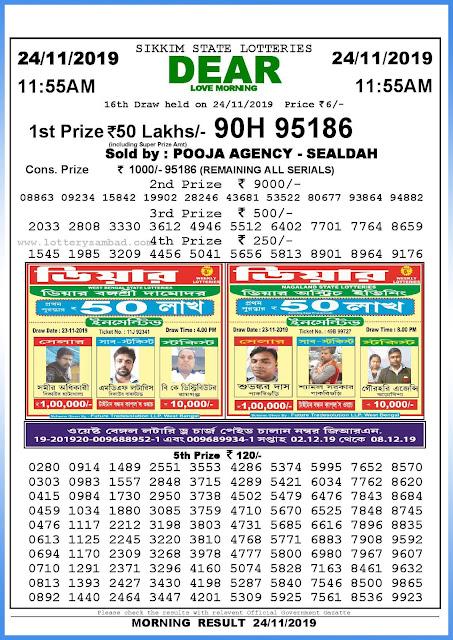 Lottery sambad 24-11-2019 Sikkim State Lottery Result 11.55 AM-sambadlottery.org