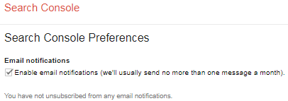 Webmaster Tools Preferences