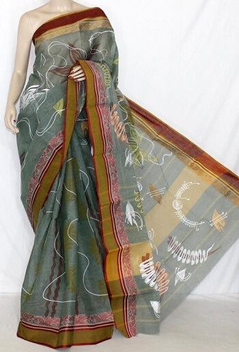 Grey And Maroon Printed Tant Saree