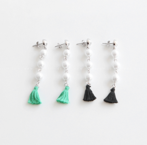 Faux Pearl And Tassel Dangling Earrings
