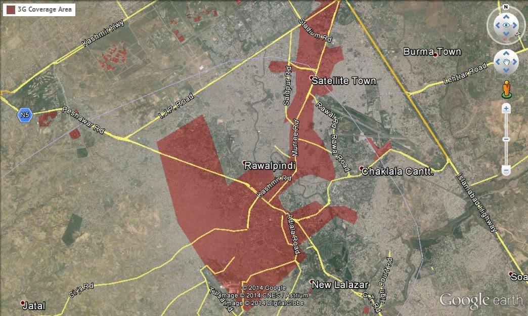 Ufone 3G Coverage Area Detail in Lahore Islamabad Rawalpindi Karachi