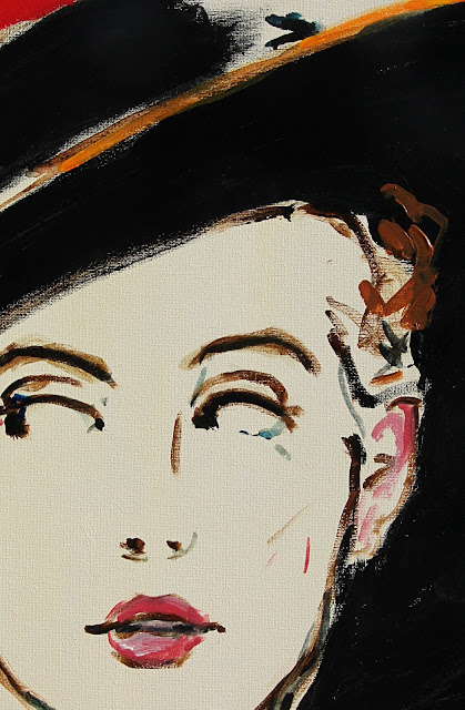 painting, art, sarah, myers, fashion, face, hat, eyes, detail, close-up, arte, pintura, style, design, modern, contemporary, acrylic, black, red, blue, hat, glance, expression, woman, lady, figurative, canvas