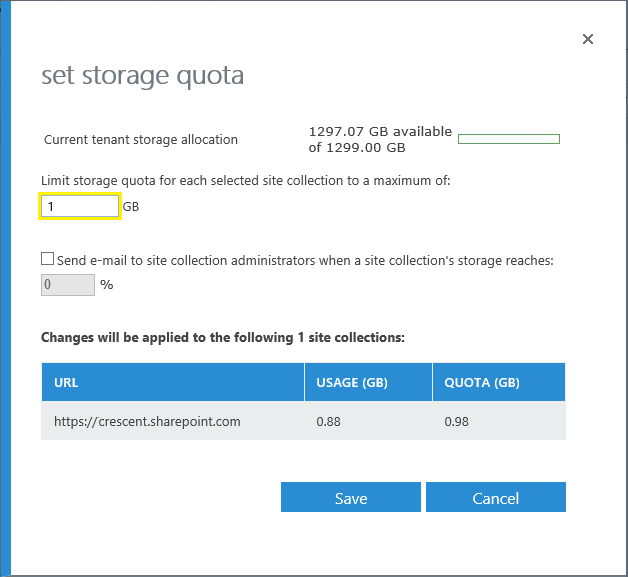 sharepoint online set storage quota