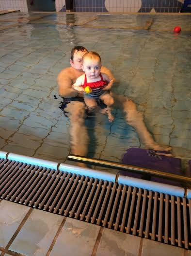 Baby Sophia and her dad at a Puddle Duck Swimming Lesson