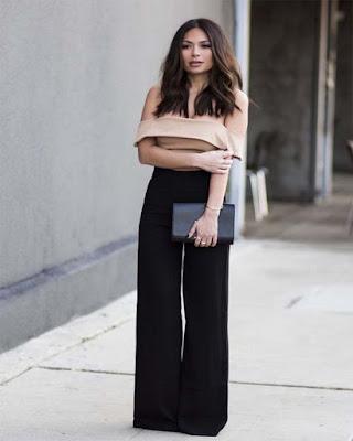 outfit formal elegante con pantalón palazzo negro