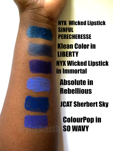 cocoa swatches, melanin, makeup, black beauty blogger, blue lipstick swatches