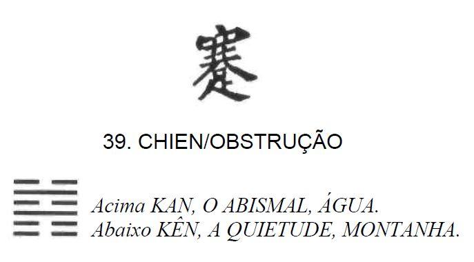 Imagem de 'Chien / Obstrução' - hexagrama número 39, de 64 que fazem parte do I Ching, o Livro das Mutações