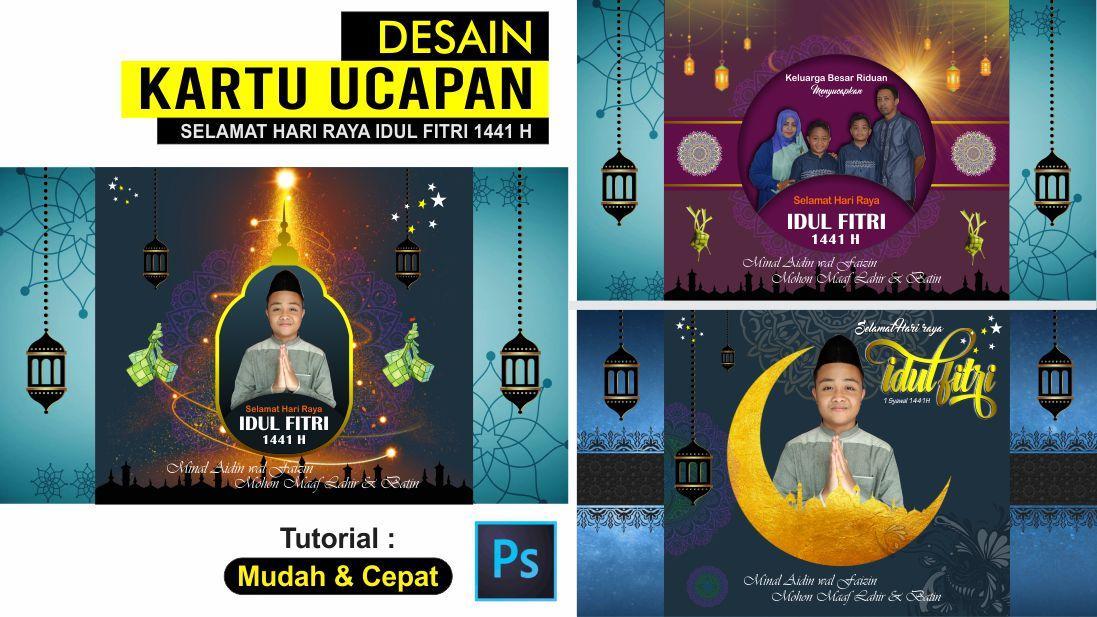 Desain Template Kartu Ucapan Hari Raya Idul Fitri Dengan Photoshop Free Psd Tutoriduan Com