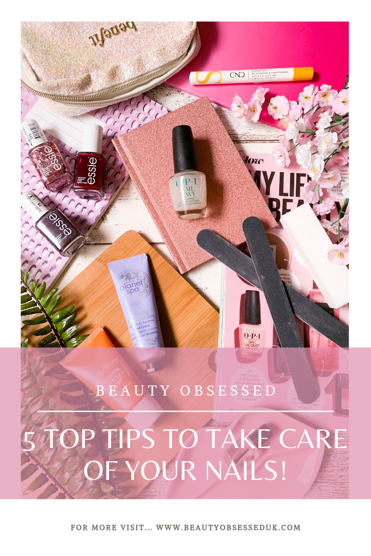 5 Top Tips To Take Care of Your Nails Pinterest Graphic