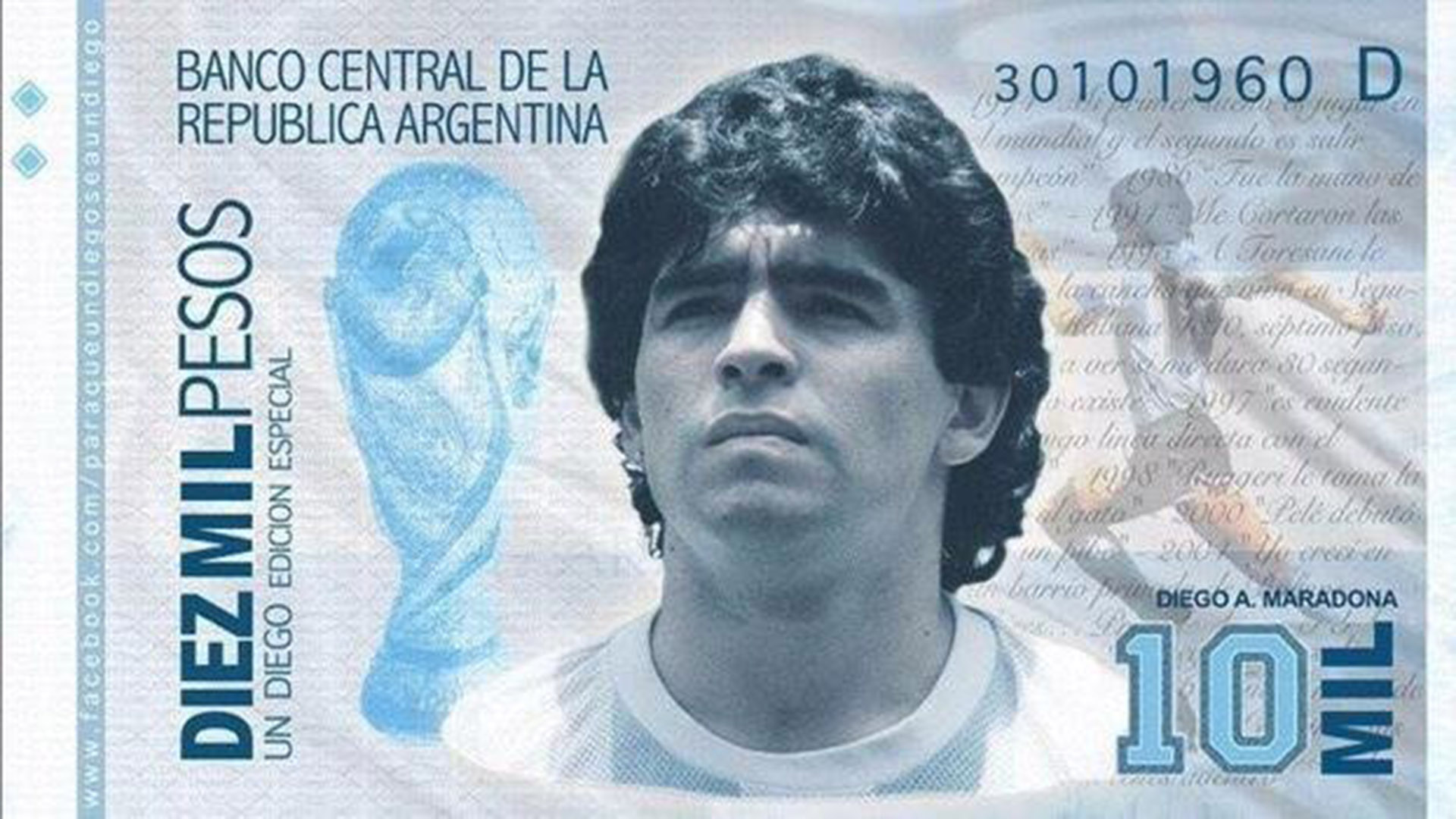 Billete de 10 mil pesos de Maradona