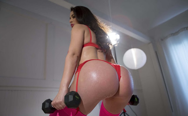 Lana Rhoades big booty red bikini