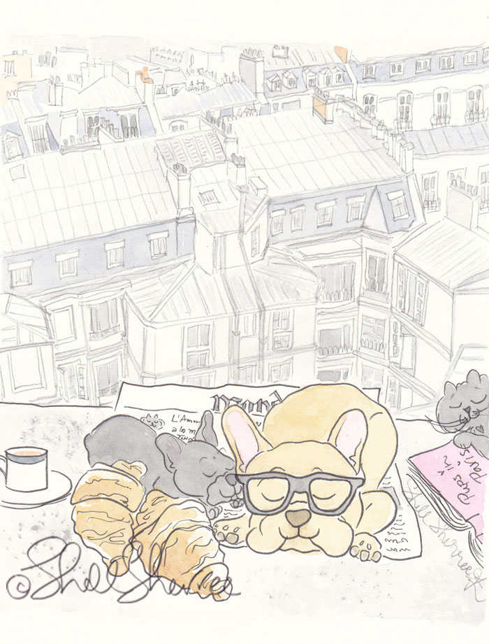 rench Bulldogs Paris Rooftops Breakfast with Snoozing Kitty illustration © Shell Sherree