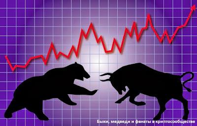 Быки, медведи и фанаты в криптосообществе