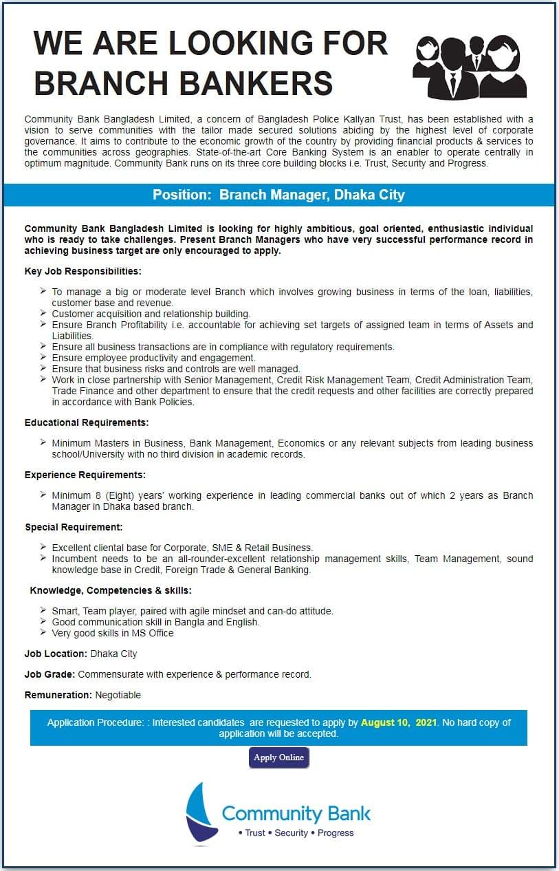 Community Bank Bangladesh Job Circular 2021