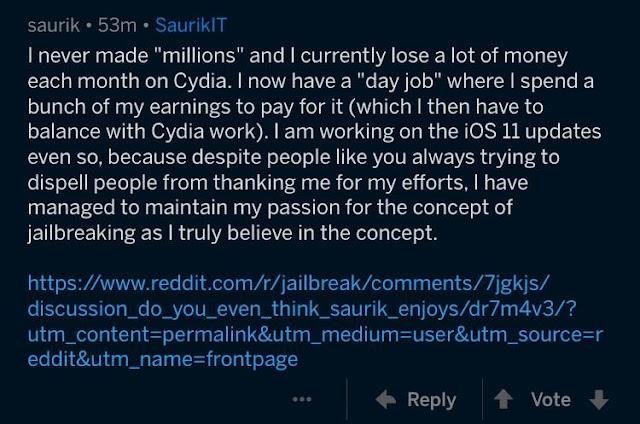 Saurik: سيديا Cydia جيلبريك iOS 11 قريبا