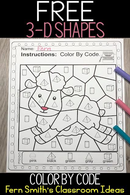 Color By Code 3-D Shapes Baa Baa Black Sheep Freebie #FernSmithsClassroomIdeas