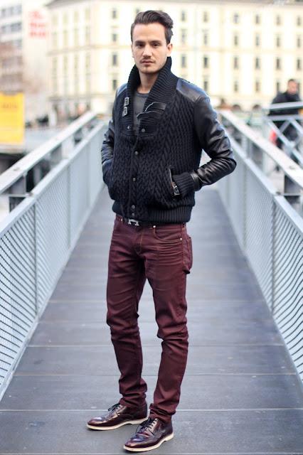cor bordô calça masculina