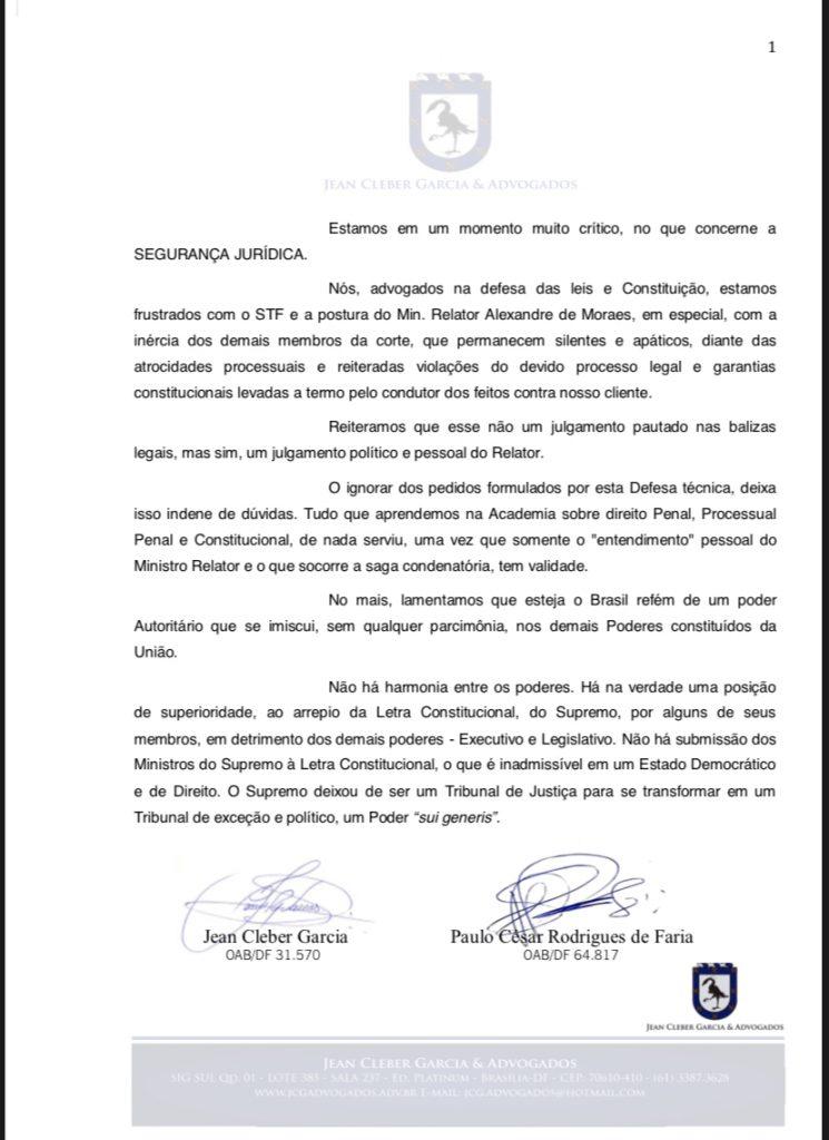VINGANÇA E TIRANIA!! Mais uma do Supremo Tribunal de Exceção do Brasil