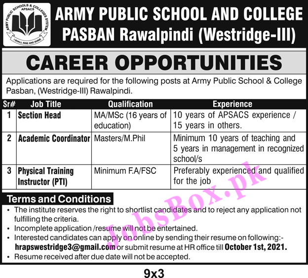 hrapswestridge3@gmail.com - Army Public School and College Rawalpindi Jobs 2021 in Pakistan